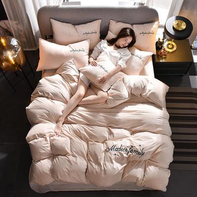 2019新款-水晶绒卡珞琳四件套 床单款四件套1.8m(6英尺)床 卡珞琳-米白