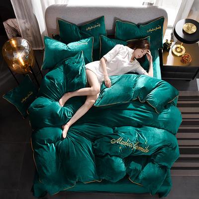 2019新款-水晶绒卡珞琳四件套 床单款四件套1.8m(6英尺)床 卡珞琳-墨绿