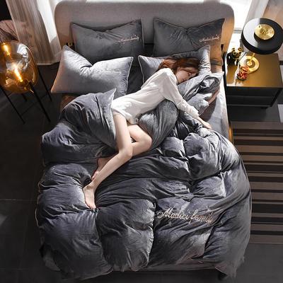 2019新款-水晶绒卡珞琳四件套 床单款四件套1.8m(6英尺)床 卡珞琳-深灰