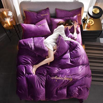 2019新款-水晶绒卡珞琳四件套 床单款四件套1.8m(6英尺)床 卡珞琳-深紫