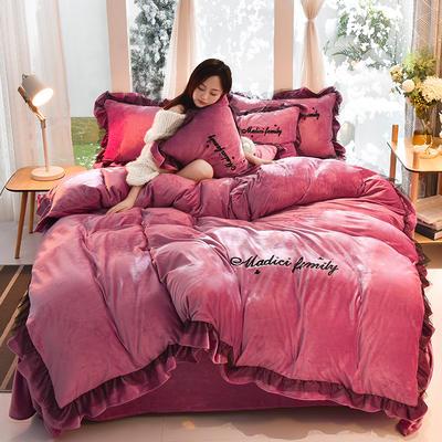 2019新款-水晶绒毛巾绣美蒂琪花边四件套系列 床单款四件套1.5m(5英尺)床 美蒂琪-豆沙