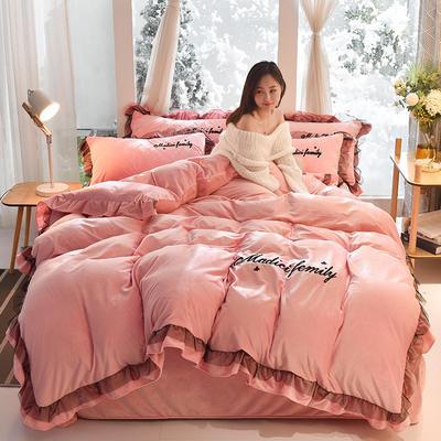 2019新款-水晶绒毛巾绣美蒂琪花边四件套系列 床单款四件套1.5m(5英尺)床 美蒂琪-红粉