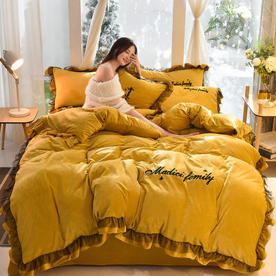 2019新款-水晶绒毛巾绣美蒂琪花边四件套系列 床单款三件套1.2m(4英尺)床 美蒂琪-姜黄