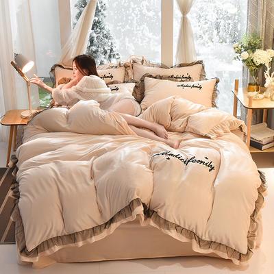 2019新款-水晶绒毛巾绣美蒂琪花边四件套系列 床单款四件套1.5m(5英尺)床 美蒂琪-米白