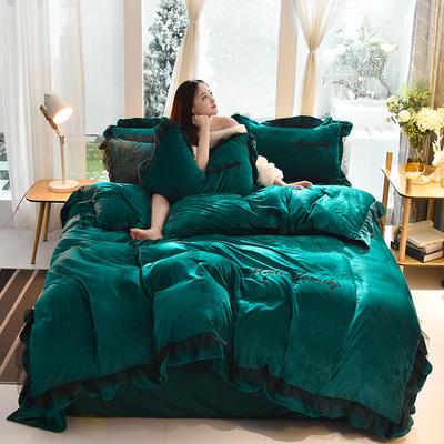 2019新款-水晶绒毛巾绣美蒂琪花边四件套系列 床单款四件套1.5m(5英尺)床 美蒂琪-墨绿