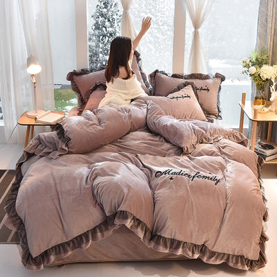 2019新款-水晶绒毛巾绣美蒂琪花边四件套系列 床单款三件套1.2m(4英尺)床 美蒂琪-奶茶