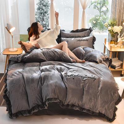 2019新款-水晶绒毛巾绣美蒂琪花边四件套系列 床单款四件套1.5m(5英尺)床 美蒂琪-深灰