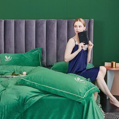 2019新款-水晶绒床裙刺绣四件套 床单款1.5m(5英尺)床 玛瑙绿