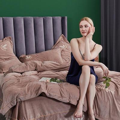 2019新款-水晶绒床裙刺绣四件套 床单款1.5m(5英尺)床 浅卡其