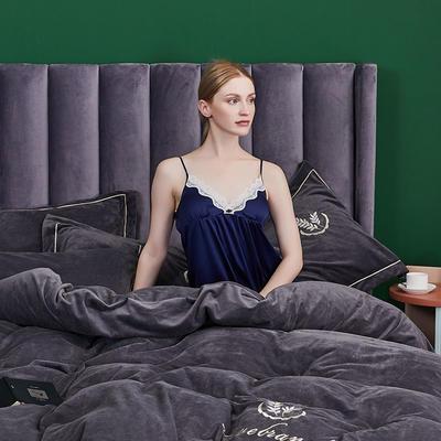 2019新款-水晶绒床裙刺绣四件套 床单款1.5m(5英尺)床 绅士灰