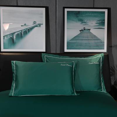 2020新款-水洗真丝枕套 48cmX74cm/一对 安琪拉-墨绿