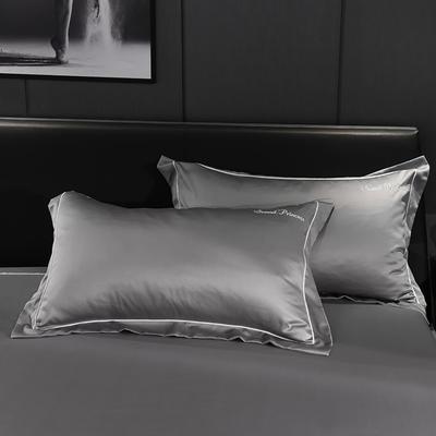 2020新款-水洗真丝枕套 48cmX74cm/一对 安琪拉-深灰