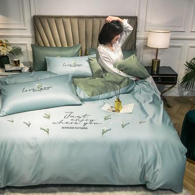 2020新款-拼色小清新绣花水洗真丝四件套 床单款1.5m(5英尺)床 雏菊-清水蓝