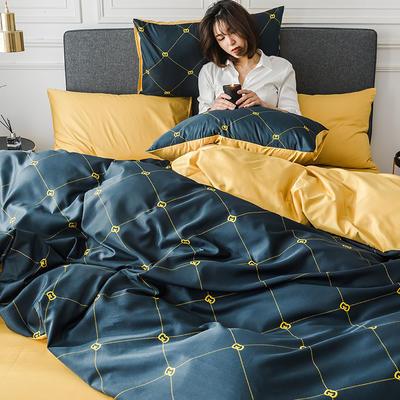 2020新款-小清新水洗真丝印花系列四件套 床单款1.5m(5英尺)床 创意空间