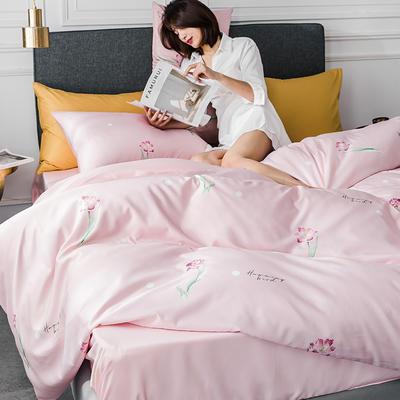 2020新款-小清新水洗真丝印花系列四件套 床单款1.5m(5英尺)床 青春花语