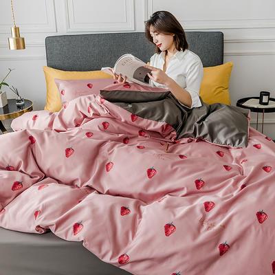 2020新款-小清新水洗真丝印花系列四件套 床单款1.5m(5英尺)床 甜心草莓