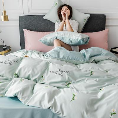 2020新款-小清新水洗真丝印花系列四件套 床单款1.5m(5英尺)床 香榭丽舍