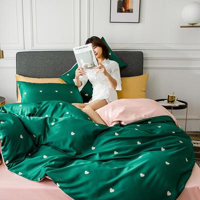 2020新款-小清新水洗真丝印花系列四件套 床单款1.5m(5英尺)床 心动-绿