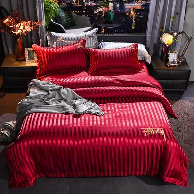 2020新款-贡缎提花四件套 床单款1.5m(5英尺)床 贡缎大红