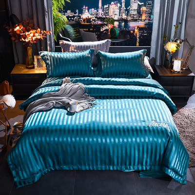 2020新款-贡缎提花四件套 床单款1.8m(6英尺)床 贡缎湖蓝