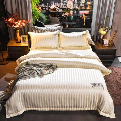 2020新款-贡缎提花四件套 床单款1.8m(6英尺)床 贡缎米白