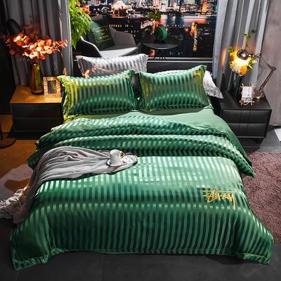 2020新款-贡缎提花四件套 床单款1.8m(6英尺)床 贡缎墨绿