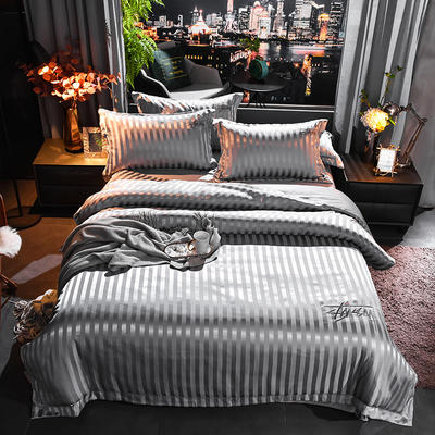 2020新款-贡缎提花四件套 床单款1.8m(6英尺)床 贡缎深灰