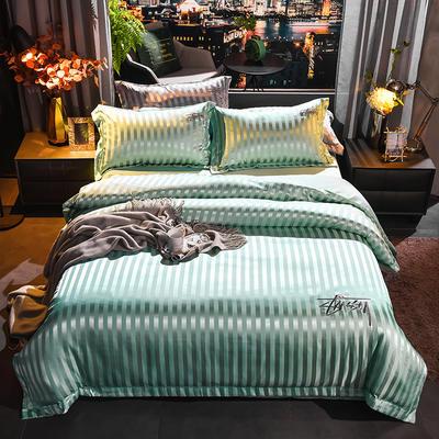 2020新款-贡缎提花四件套 床单款1.8m(6英尺)床 贡缎水绿