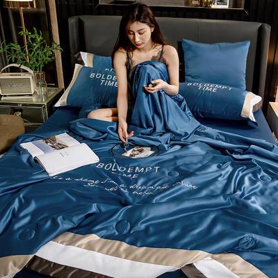 2020新款-莫代尔轻奢水洗真丝夏被四件套 150x200夏被单件 莫代尔轻奢系列-宾利蓝