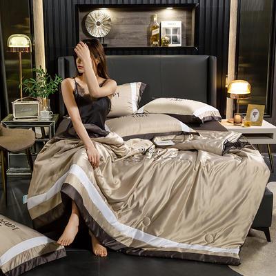 2020新款-莫代尔轻奢水洗真丝夏被四件套 150x200夏被单件 莫代尔轻奢系列-香槟金