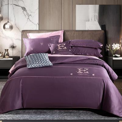 2020新款-长绒棉酒店风四件套 床单款1.5m(5英尺)床 凯罗琳—丁香紫