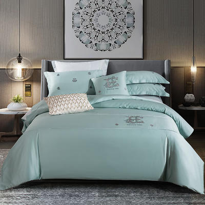 2020新款-长绒棉酒店风四件套 床单款1.8m(6英尺)床 凯罗琳—幸运蓝