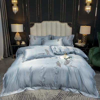 2020新款-水洗真丝刺绣羽毛四件套 床单款四件套1.5m(5英尺)床 羽毛-海青