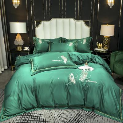2020新款-水洗真丝刺绣羽毛四件套 床单款四件套1.5m(5英尺)床 羽毛-墨绿
