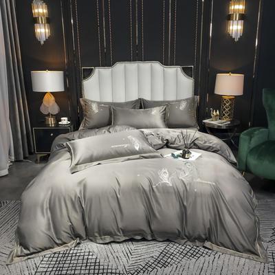 2020新款-水洗真丝刺绣羽毛四件套 床单款四件套1.5m(5英尺)床 羽毛-绅士灰