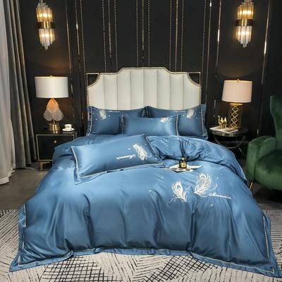 2020新款-水洗真丝刺绣羽毛四件套 床单款四件套1.5m(5英尺)床 羽毛-月光兰