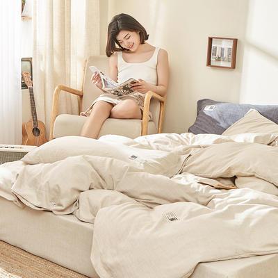 2020新款-麻棉纽扣日系风四件套 床单款四件套1.8m(6英尺)床 卡其