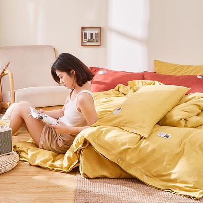 2020新款-麻棉纽扣日系风四件套 床单款四件套1.8m(6英尺)床 嫩黄