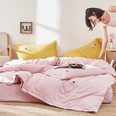 2020新款-麻棉纽扣日系风四件套 床单款四件套1.8m(6英尺)床 浅豆沙