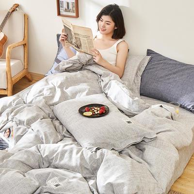 2020新款-麻棉纽扣日系风四件套 床单款四件套1.8m(6英尺)床 浅灰