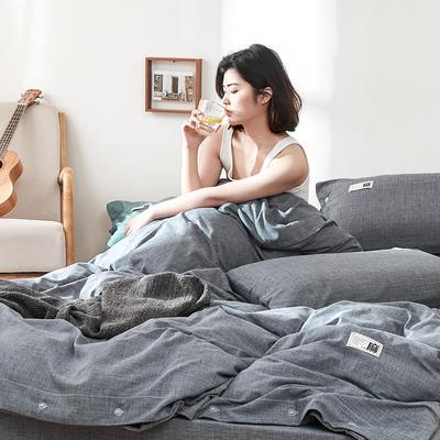 2020新款-麻棉纽扣日系风四件套 床单款四件套1.8m(6英尺)床 深灰