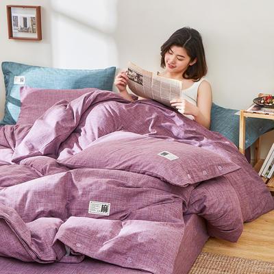2020新款-麻棉纽扣日系风四件套 床单款四件套1.8m(6英尺)床 优雅紫