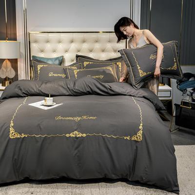 2020新款-欧式轻奢水洗磨毛刺绣四件套 床单款四件套1.5m(5英尺)床 卡尔-高级灰