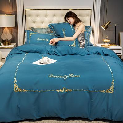 2020新款-欧式轻奢水洗磨毛刺绣四件套 床单款四件套1.5m(5英尺)床 卡尔-月光蓝