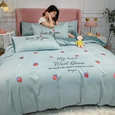 2020新款-小清新 水洗磨毛刺绣四件套 床单款四件套1.5m(5英尺)床 草莓-梵星蓝