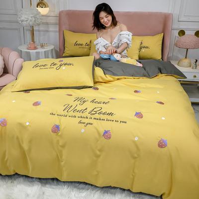 2020新款-小清新 水洗磨毛刺绣四件套 床单款四件套1.5m(5英尺)床 草莓-姜黄