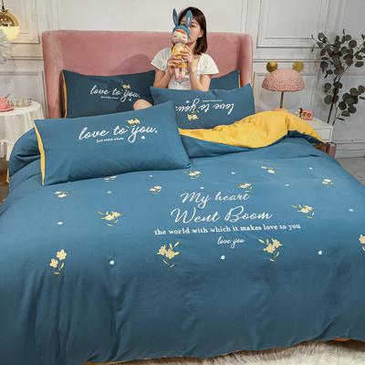 2020新款-小清新 水洗磨毛刺绣四件套 床单款四件套1.5m(5英尺)床 花语-宾利蓝