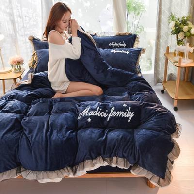 2020新款-水晶绒牛奶绒毛巾绣美蒂琪花边四件套系列 床单款四件套1.5m(5英尺)床 美蒂琪-深蓝