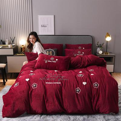2020新款-丽丝绒&艾拉系列四件套 1.5m床单款四件套 艾拉-酒红