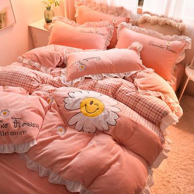 2020新款-牛奶绒 艾丽莎公主风刺绣 贴布绣四件套 1.5m床单款四件套 艾丽莎-粉色